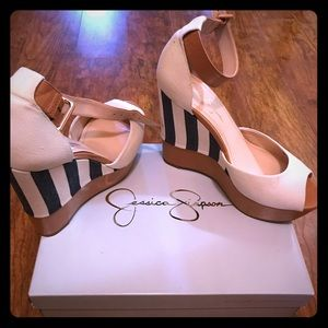 JESSICA SIMPSON 'Cocoa' Linen Tan Wedge | sz 9.5